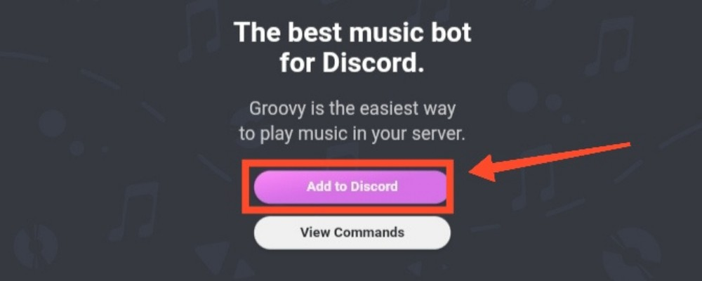 Click on Add to discord button on groovy bot